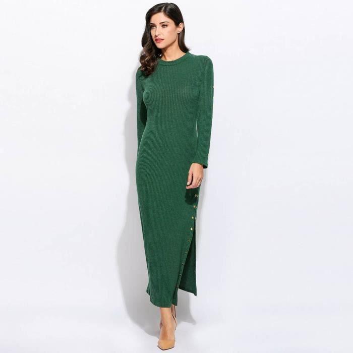 Femmes Robe en tricot à manches longues Split ourlet robe Vintage