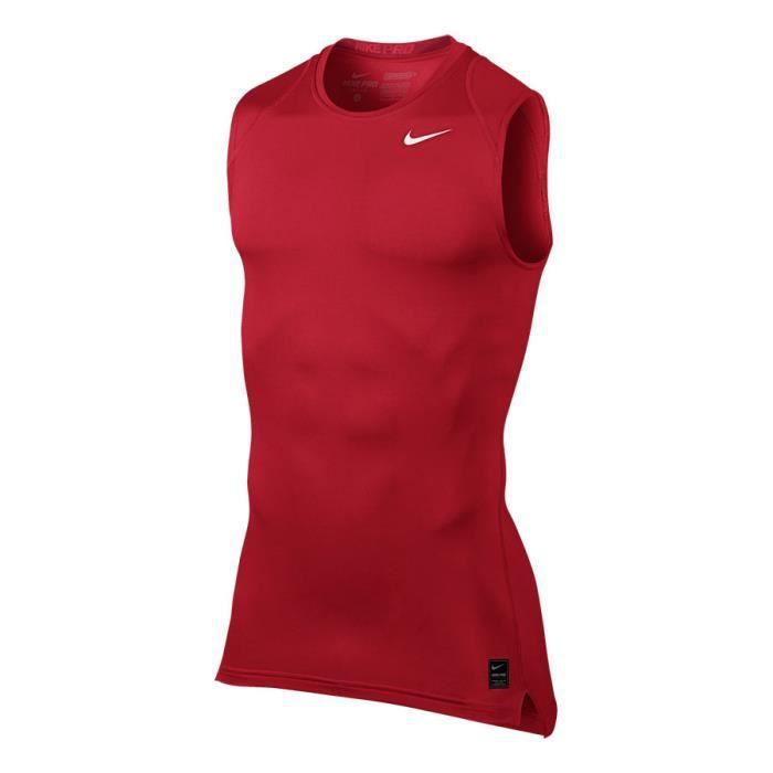 9af50145c70 T-SHIRT MAILLOT DE SPORT Débardeur compression Nike Pro Top rouge blanc