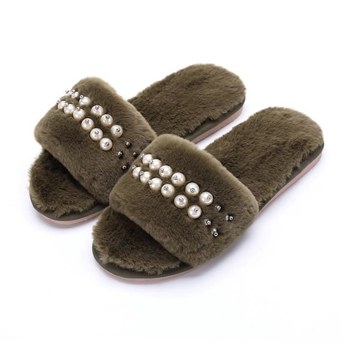 Chaussons Perles Plus De Cachemire Elégant Hiver Chaussure Garde Au Chaud Classique Coton Femme Chausson Haut qualité Doux 35-40 AbUjnY