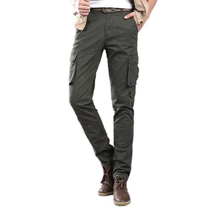 7dfa46d3c1998 Pantalon Battle Homme Cargo Multi-poches Coupe Droite Casual Pantalon  Exterieur Style Militaire
