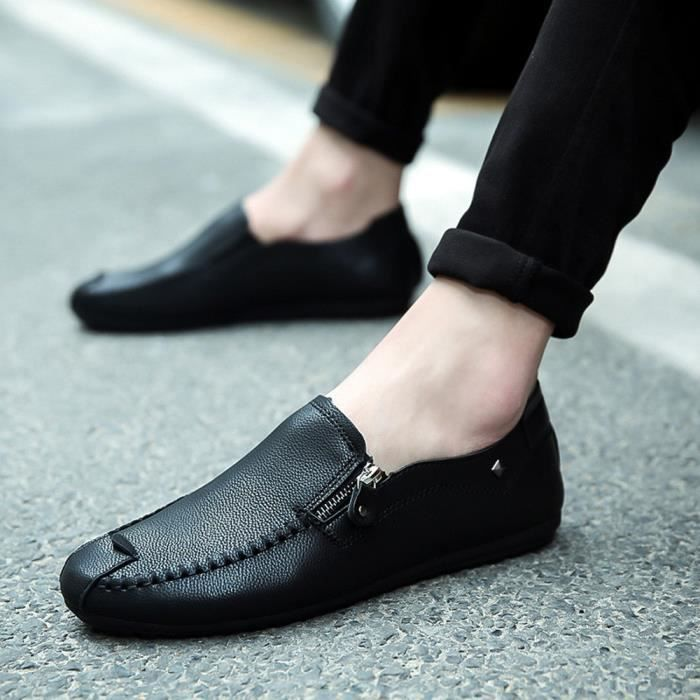 Profond Solide Couture De Bout En Hommes Chaussures Bouche Plat Peu yini1549 Couleur Cuir Talon Rond UpxZnw8gq5