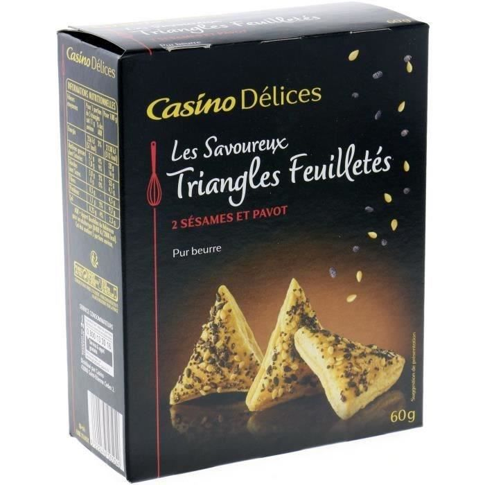 BISCUITS APÉRITIF CASINO DELICES Triangles Feuilletés 2 Sésames et P