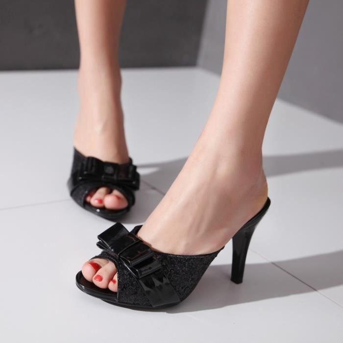 New Sequin noir Bow minces pantoufles à talons hauts