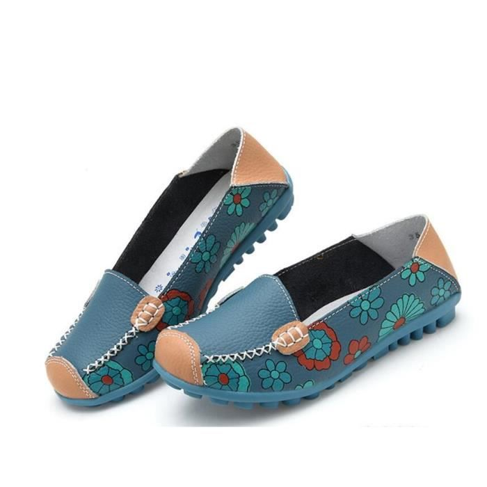 Mocassins Femmes En Cuir Casuel Confort Chaussures Plates Loafers Chaussures de Conduite