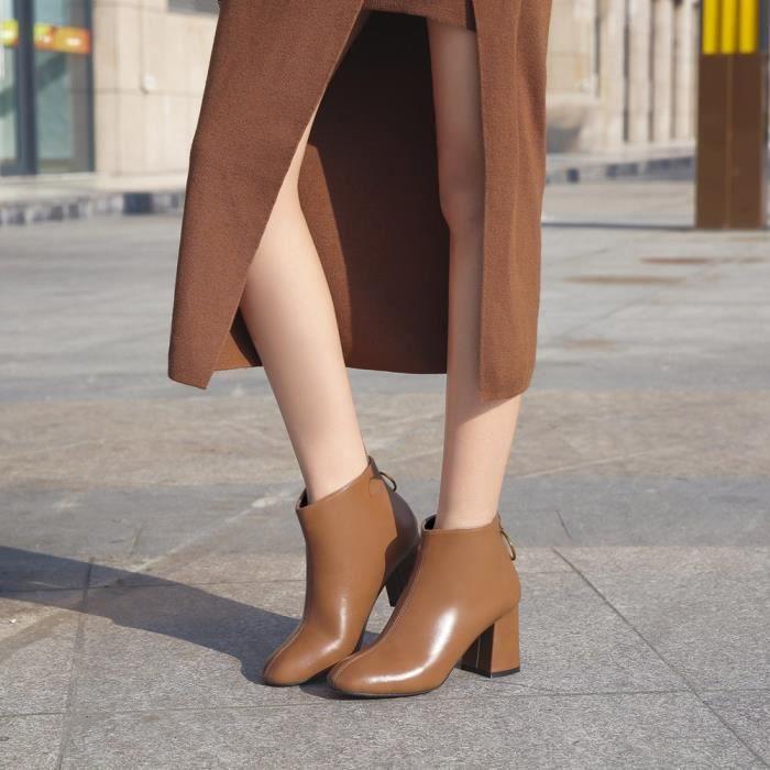 Zipper mode Britannique Bottes Em24521 Chaussures Carrée Lansman Épais Féminine Casual Tête Talons S7w0d0xgq