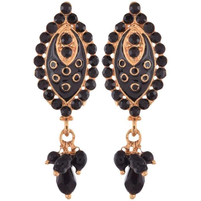 Femmes Set Pendentif Cuivre Noir Earing PourYOHSC