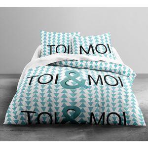 TODAY Parure de couette Enjoy Toi & Moi 100% Coton - 1 housse de couette 240x260 cm + 2 taies 63x63 cm blanc, turquoise et noir