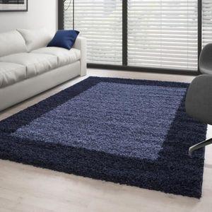 TAPIS Tapis Shaggy pile longue designe 2 couleur BLEU FO