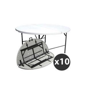 TABLE DE JARDIN  Tables rondes pliantes 180 cm - Lot de 10
