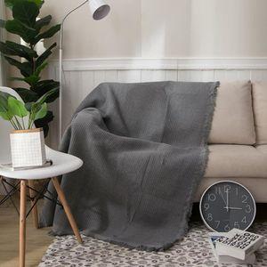 COUVERTURE - PLAID Plaid gris Couverture coton Canapé coussin serviet