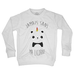 Sweat Shirt Enfant Jamais Sans Ma Licorne Humour Dessin Panda Avec Corne Arc En Ciel Mignon Animaux