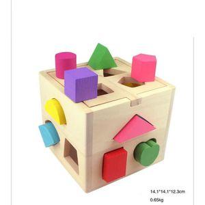 JEU D'APPRENTISSAGE Coffre à jouets Apprendre les forme en bois-Jouet