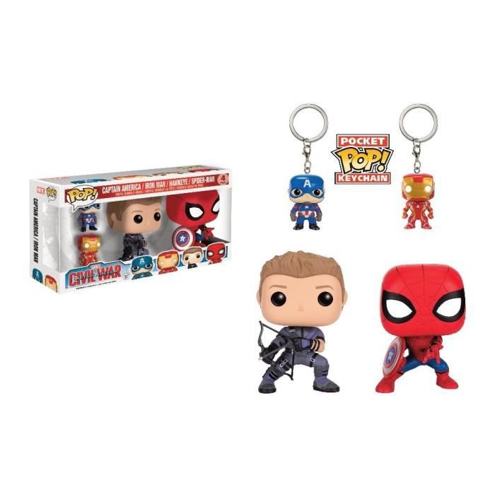 2 Figurines Funko Pop! & 2 Portes clés Pocket Pop!: Captain America, Iron Man, Spider-Man, Hawkeye