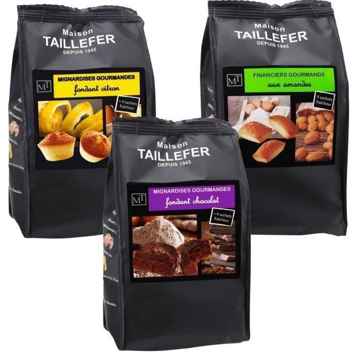 MAISON TAILLEFER Lot de 9 paquets : 3 mini financier, 3 mignardise citron, 3 mignardise chocolat