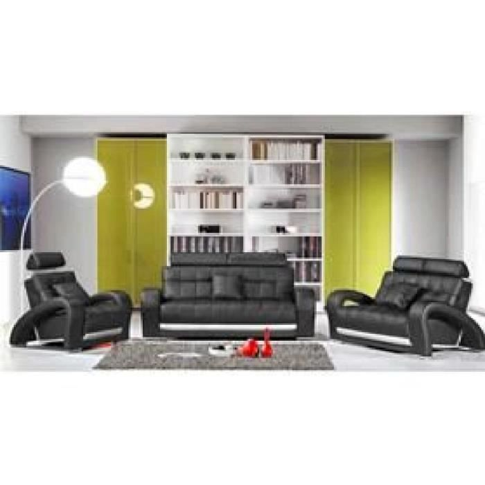 canap 3 places en cuir noir verdi achat vente canap sofa divan cuir bois. Black Bedroom Furniture Sets. Home Design Ideas
