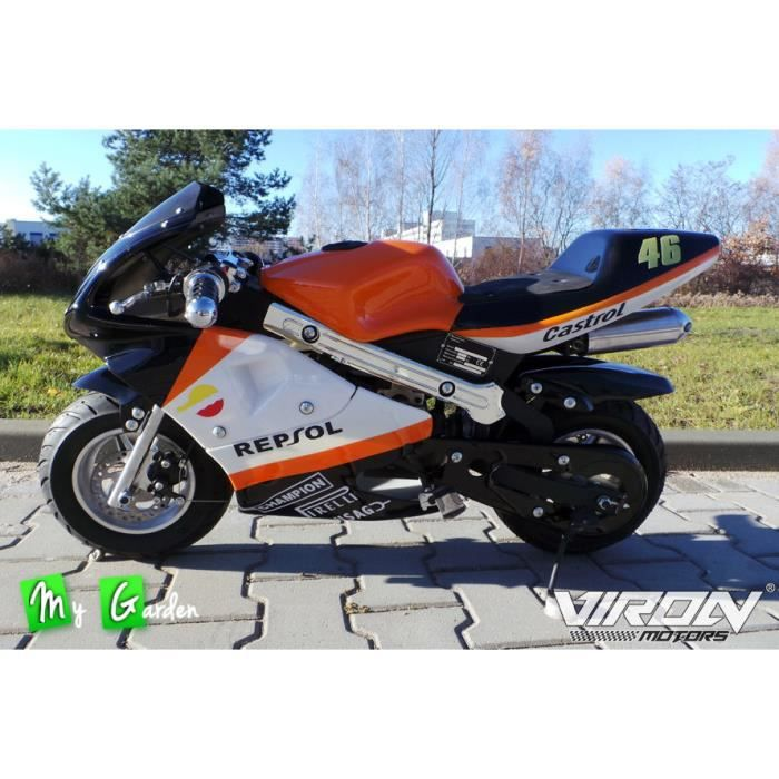 pocket bike 49cc orange mini moto course racing achat. Black Bedroom Furniture Sets. Home Design Ideas