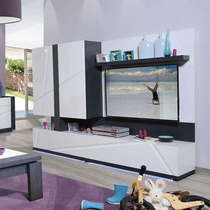 Ensemble Meuble Tv Lumineux Gris Et Blanc Laqué Moderne Viky Achat