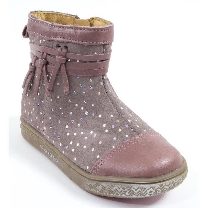 30b8130614c08 Babybotte Boots bébé fille à fermeture AMBALABA rose paillette Rose ...