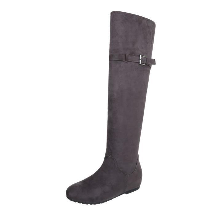 Chaussures femme Overknee bottes Talon compensé gris 41