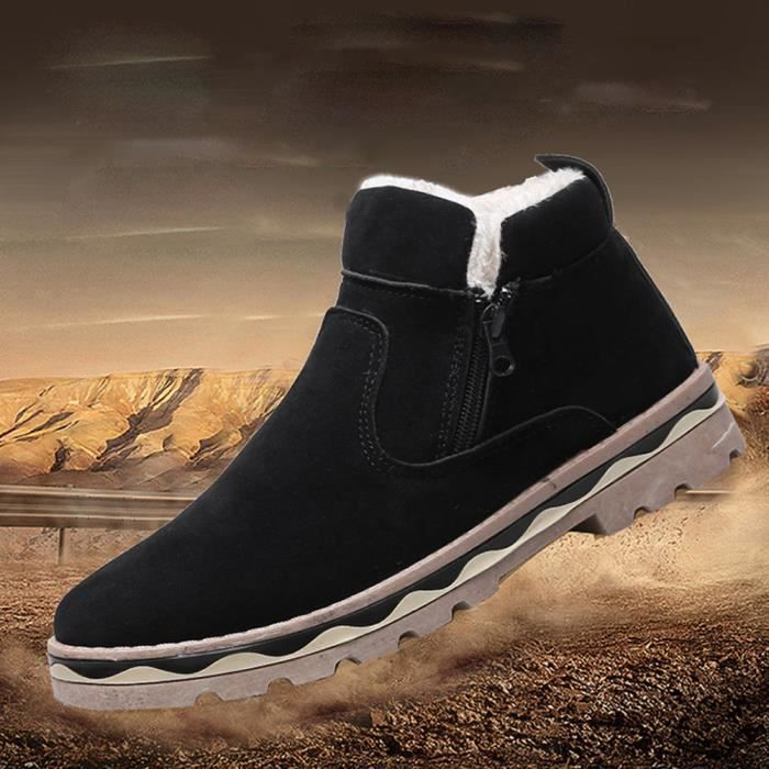Hommes D'hiver En Cuir Chaud Neige Cool Sneakers Angleterre Zip Chaussures Bottines Q0g1l