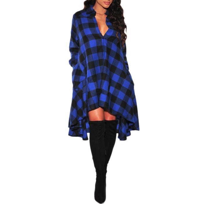 Robe Casual Loose Women Dress Tartan Chemise à manches longues Robe Haut Bas évasé longue chemise 2HNN7H Taille-32