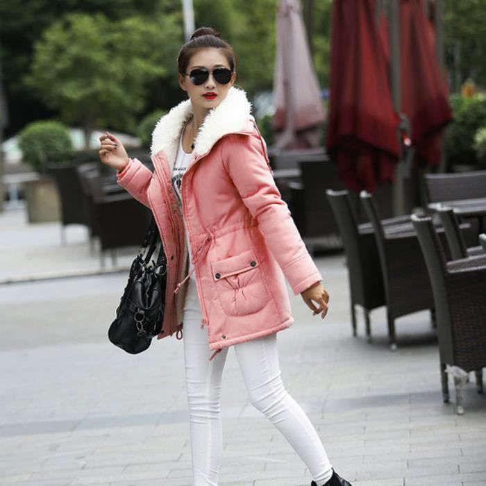 Femmes Chaud Slim Manteau Parka Rose Manteaux D'hiver Fourrure De Col Veste Outwear Rabattu rrBwdH