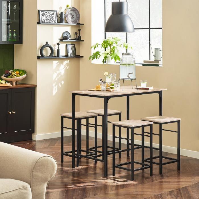 2e9e7f7e46e3e4 SoBuy® OGT11-N Ensemble table de bar bistrot + 4 tabourets avec  repose-pieds Table Mange-debout Table haute cuisine