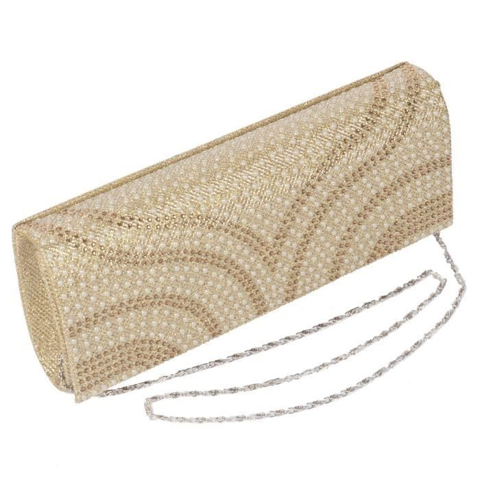 Womens Patterned Pearl Flap-over Dazzling Clutch Evening Bag Party Purse Handbag RNFZS
