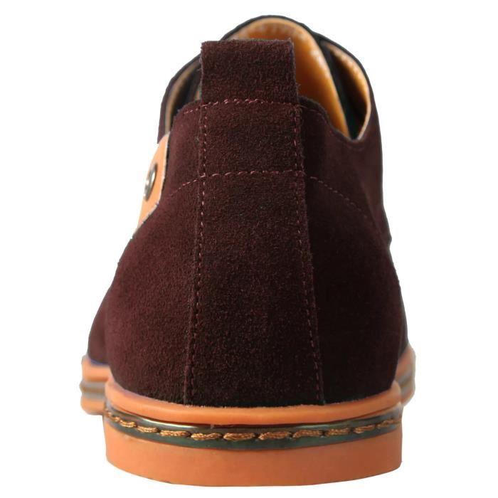 Chaussures de ville homme en cuir Mocassins suède Oxfords Cuir daim à lacets Derby Outdoor Casual nubuck Oxfords shoes en plein a...