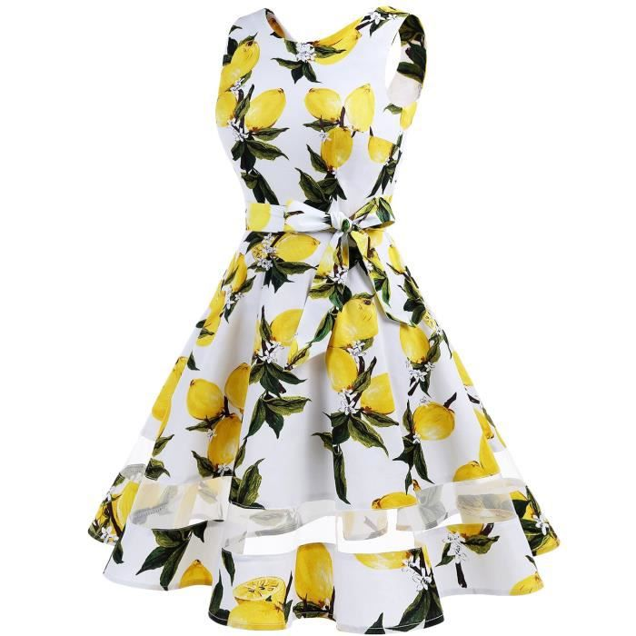 1950 Vintage femmes Robes Retro Floral Swing Party Dress 2O2NFC Taille-38