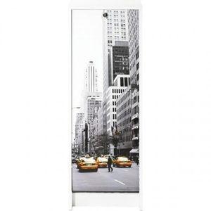 MEUBLE CLASSEMENT Classeur à rideau 37,8 cm - Blanc imprimé New York