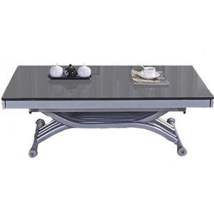TABLE BASSE Table basse relevable Zen - Plateau en verre gris