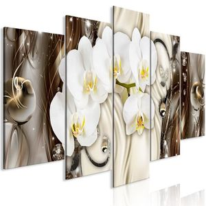 TABLEAU - TOILE Tableau - Orchid Waterfall (5 Parts) Wide Brown -