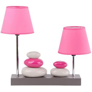 LAMPE A POSER Double Lampe Design Colonne Galets Support Bois Ro