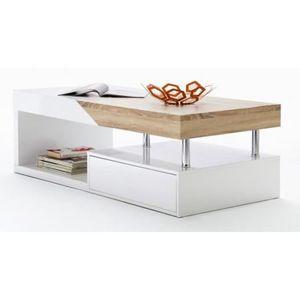 Table Basse Design Blanc Laqué Et Bois Chêne Sp Achat Vente