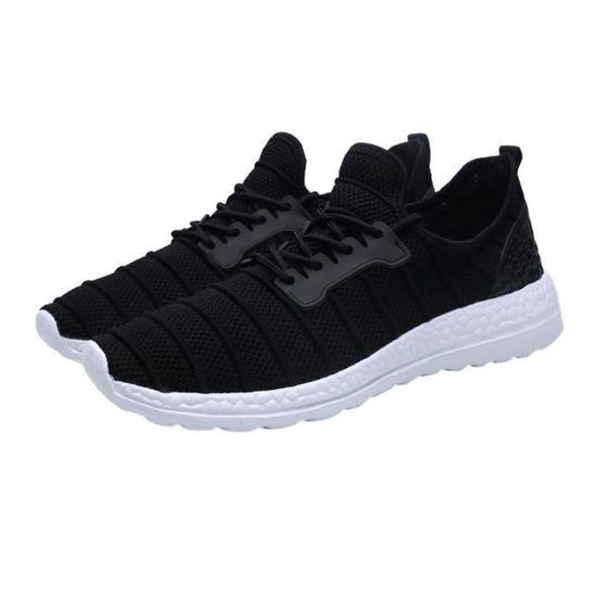 Chaussures de sport d'été unisexe Beathable Mesh Chaussures Casual Chaussures de voyage à lacets  Noir Noir Noir - Achat / Vente basket