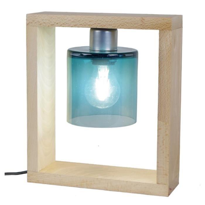 TRIUMPH Lampe à poser Bois Hêtre massif verre soufflé - 25x8x29cm - Bleu Pétrole