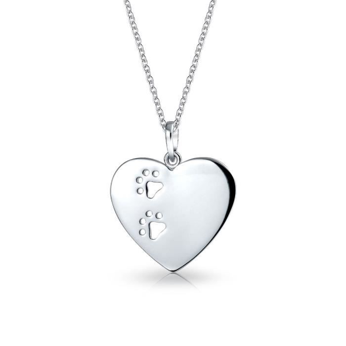 Argent 925 Bling Jewelry Cut Out Paw Imprimer Collier Pendentif coeur 18in