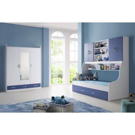 Chambre enfant bleu avec armoire 3 portes DOREMI - Achat / Vente ...