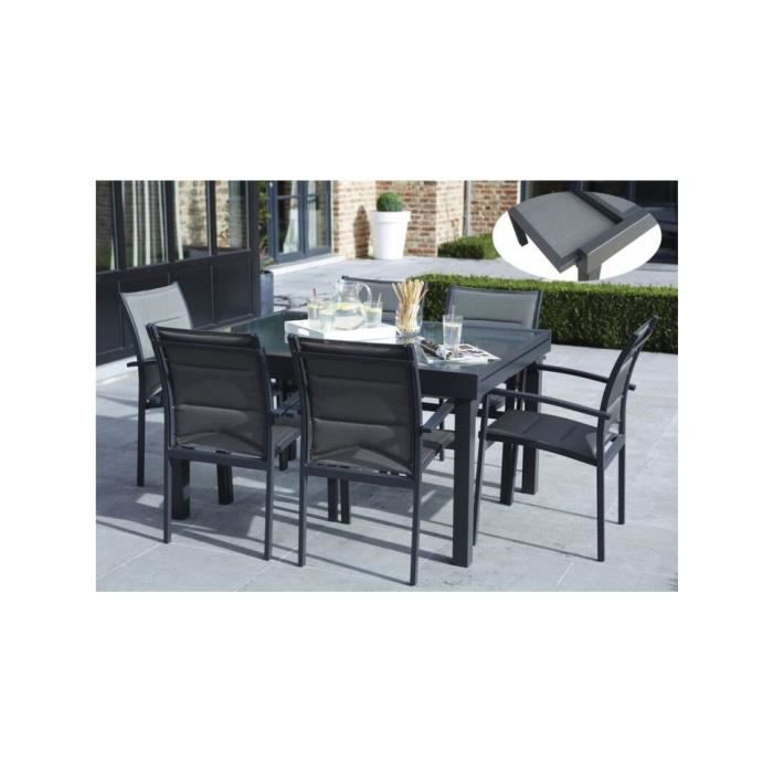 Ensemble jardin textilène aluminium et verre trempé 6 fauteuils 1 ...