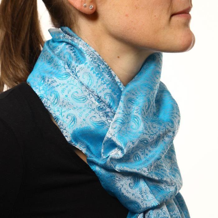 Echarpe en soie blanche reflets turquoises Bleu - Achat   Vente ... 1375fb9853c
