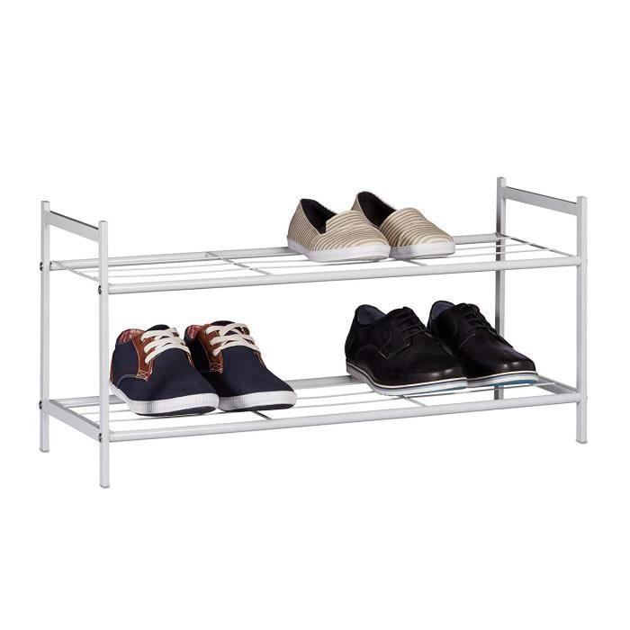6378d3bdba136f Meuble à chaussures SANDRA avec 2 étages étagère en métal HxlxP  33,5 x  69,5 x 26 cm pour 6 paires commode avec poignées blanc