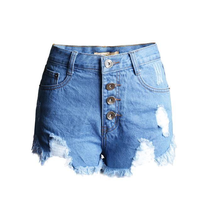 Haute Femme Shorts Trou Taille Achat Denim Short Vente Boutons wXxHqWd5T