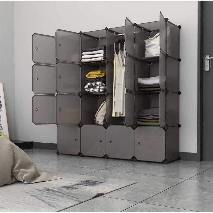 Charmant LANGRIA Armoire Penderie 16 Cubes Avec Portes Étagère Modulable Meuble Rangement  Chambre Pour Vêtements Chaussures Jouets Marron