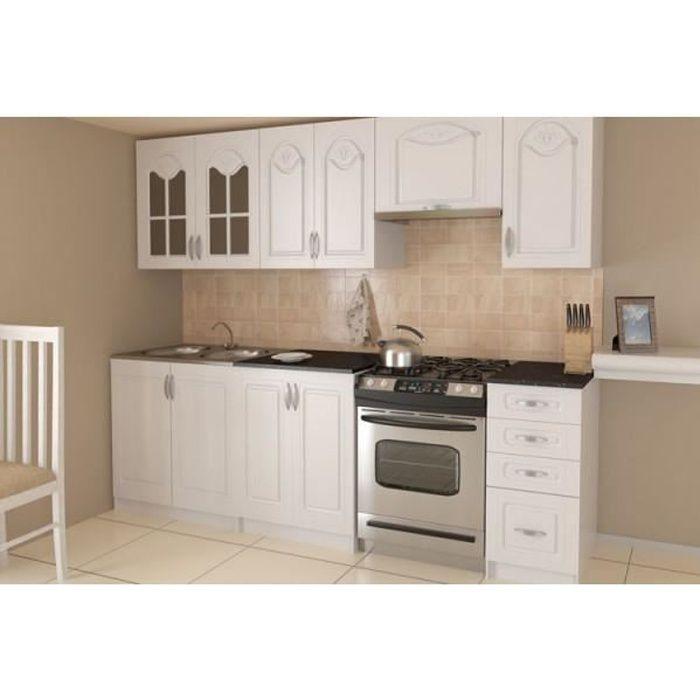cuisine compl te 240 cm dina blanche avec moulures achat vente cuisine compl te cuisine. Black Bedroom Furniture Sets. Home Design Ideas