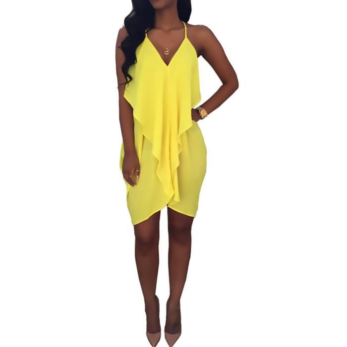 1a99eb48bb50 Petite robe courte de plage plissée Zuma Jaune Jaune - Achat / Vente ...