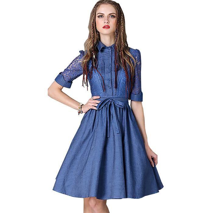 Été 2017 vintage élégant dentelle robe femmes moitié manchon dentelle ceinture bleue
