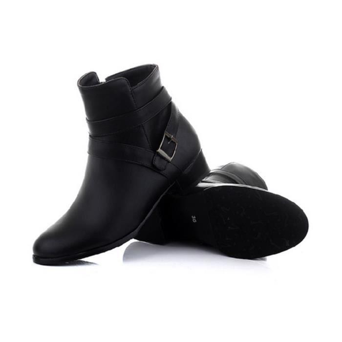 Chaussure Femmes Bottines Zippées A Plate En Simili Cuir Pour L'hiver Automne