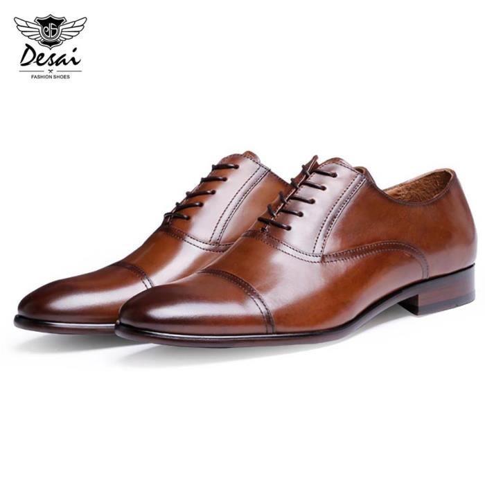 Desai Toe Casual Pointu en cuir véritable Homme Chaussures d'affaires
