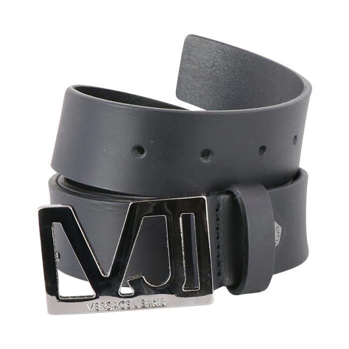6f1ffe8e02b2 Versace Jeans Ceinture noir à plaque métallique VJ D8YQBF08 (Noir - 110cm)